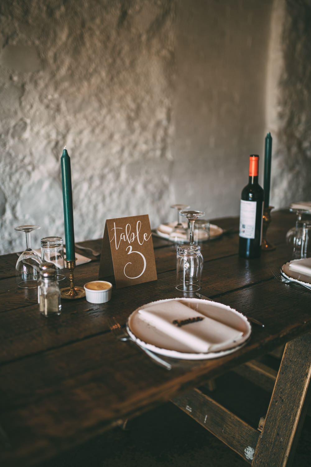 Brown Paper Table Number Calligraphy Dalduff Farm Wedding Northern Aye Photography