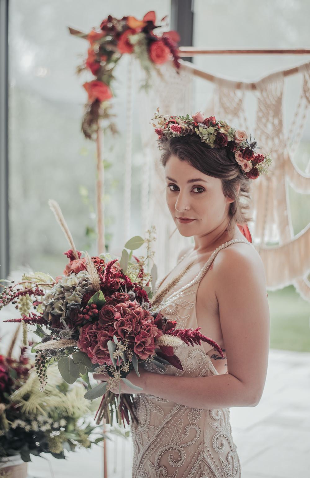 Bride Bridal Flower Crown Eco Friendly Wedding Inspiration Sarah Jayne Photography