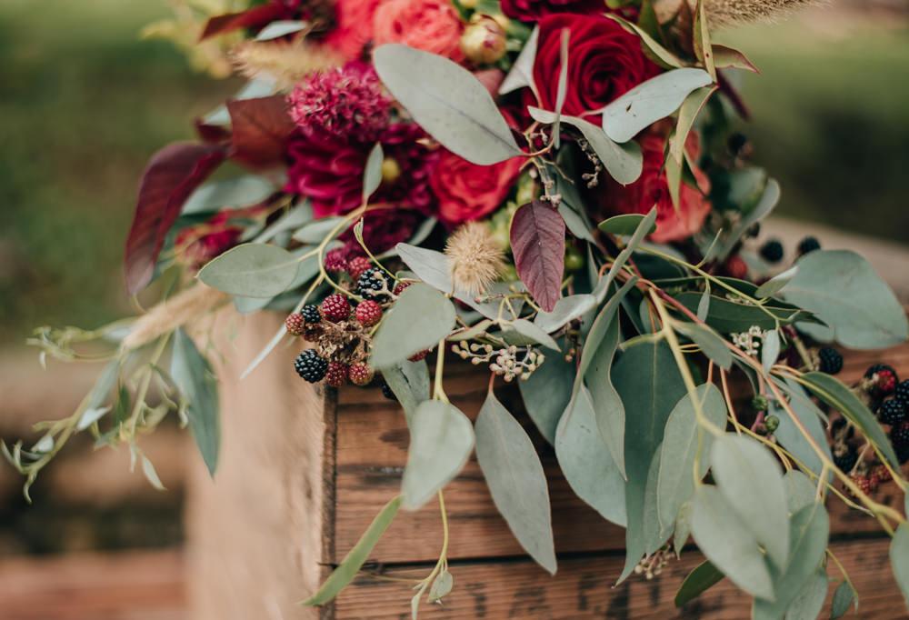 Bouquet Flowers Bride Bridal Eucalyptus Burgundy Dahlia Rose Eco Friendly Wedding Inspiration Sarah Jayne Photography
