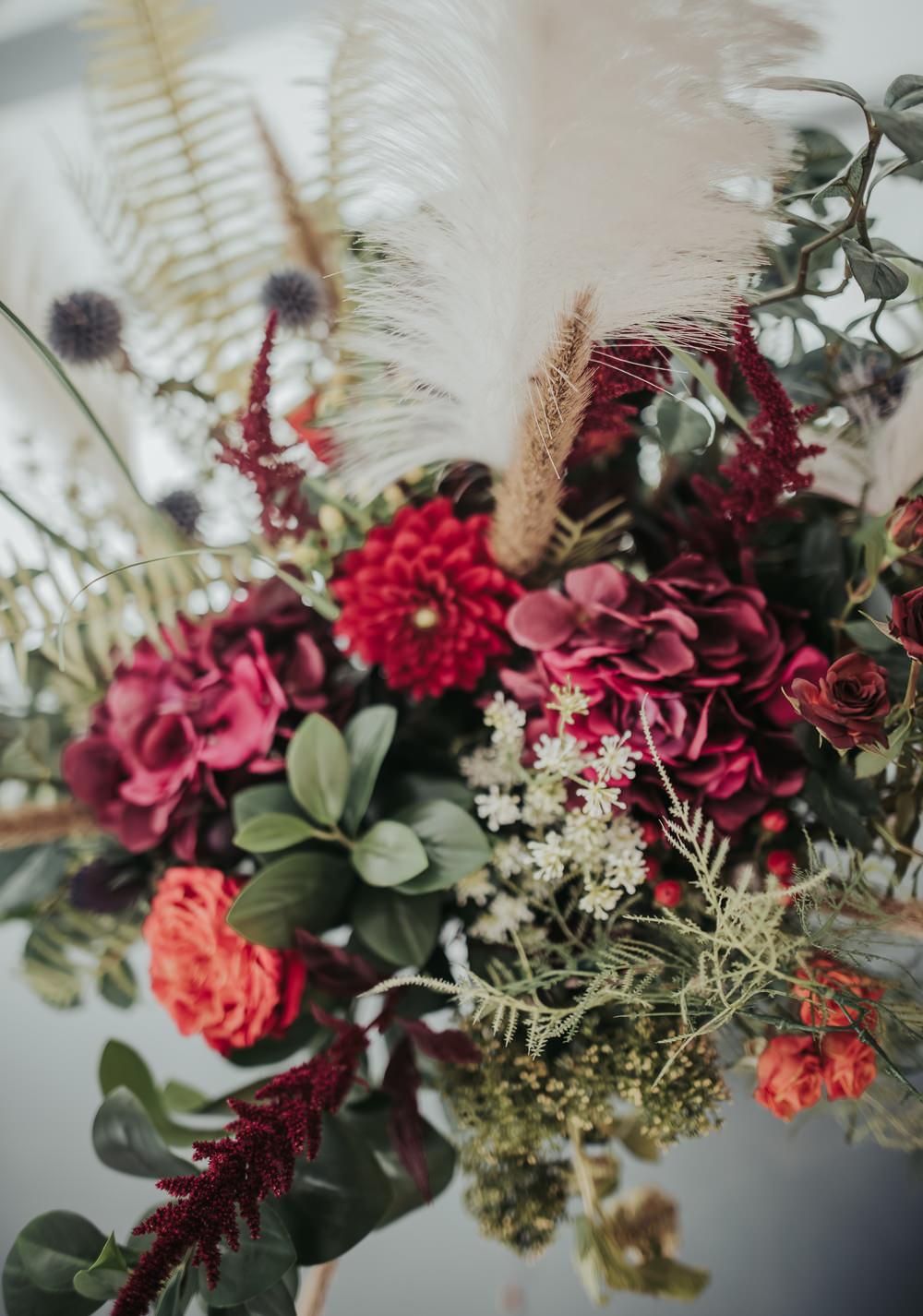 Bouquet Flowers Bride Bridal Hydrangea Burgundy Thistle Dahlia Feather Eco Friendly Wedding Inspiration Sarah Jayne Photography