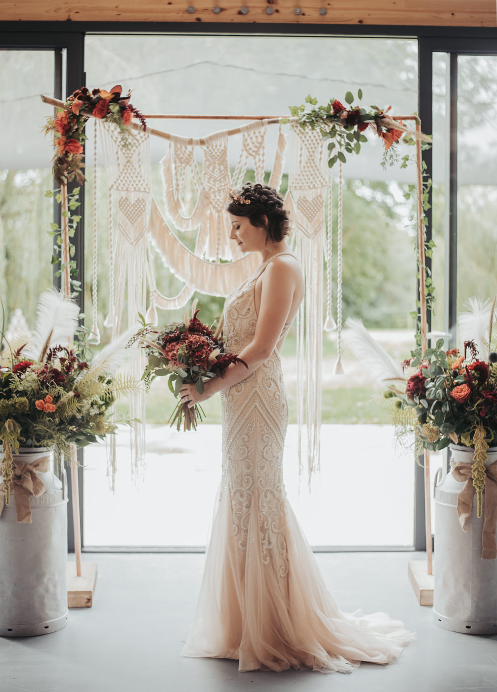 Eco Friendly Wedding Inspiration Sarah Jayne Photography Dress Gown Bride Bridal Lace Straps Fit Flare