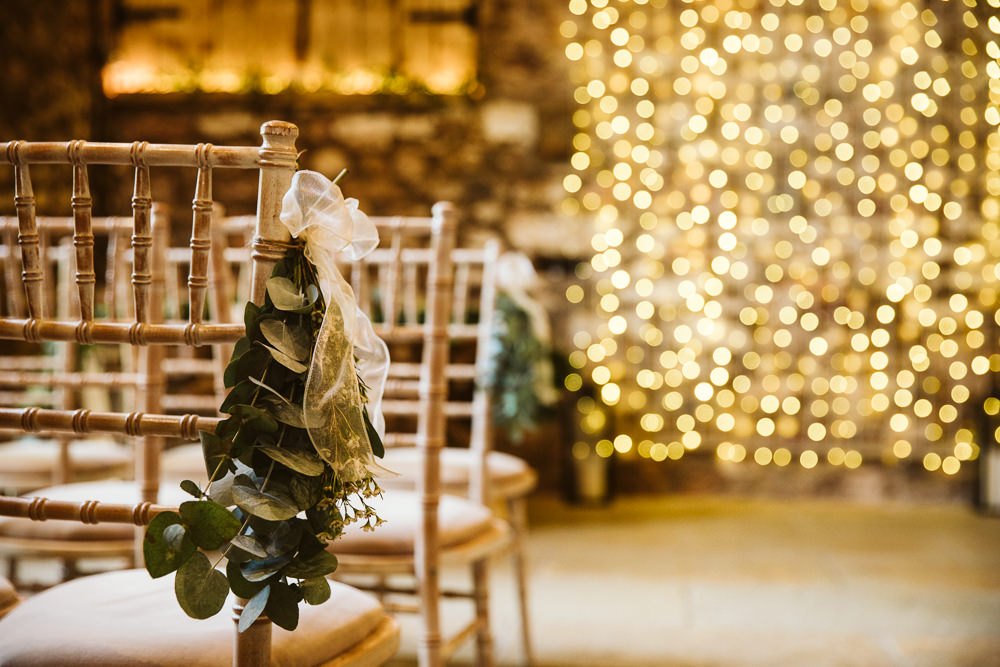 Eucalyptus Flowers Pew End Chairs Aisle Eden Barn Wedding Margarita Hope Photography