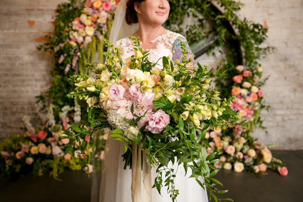 Bouquet Flowers Bride Bridal Pink Oversized Large Peony Peonies Rose Foliage Greenery Floral Minneapolis Wedding Jeannine Marie Photography