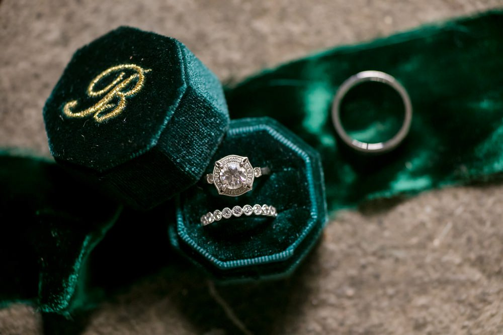 Green Velvet Ring Box Floral Minneapolis Wedding Jeannine Marie Photography