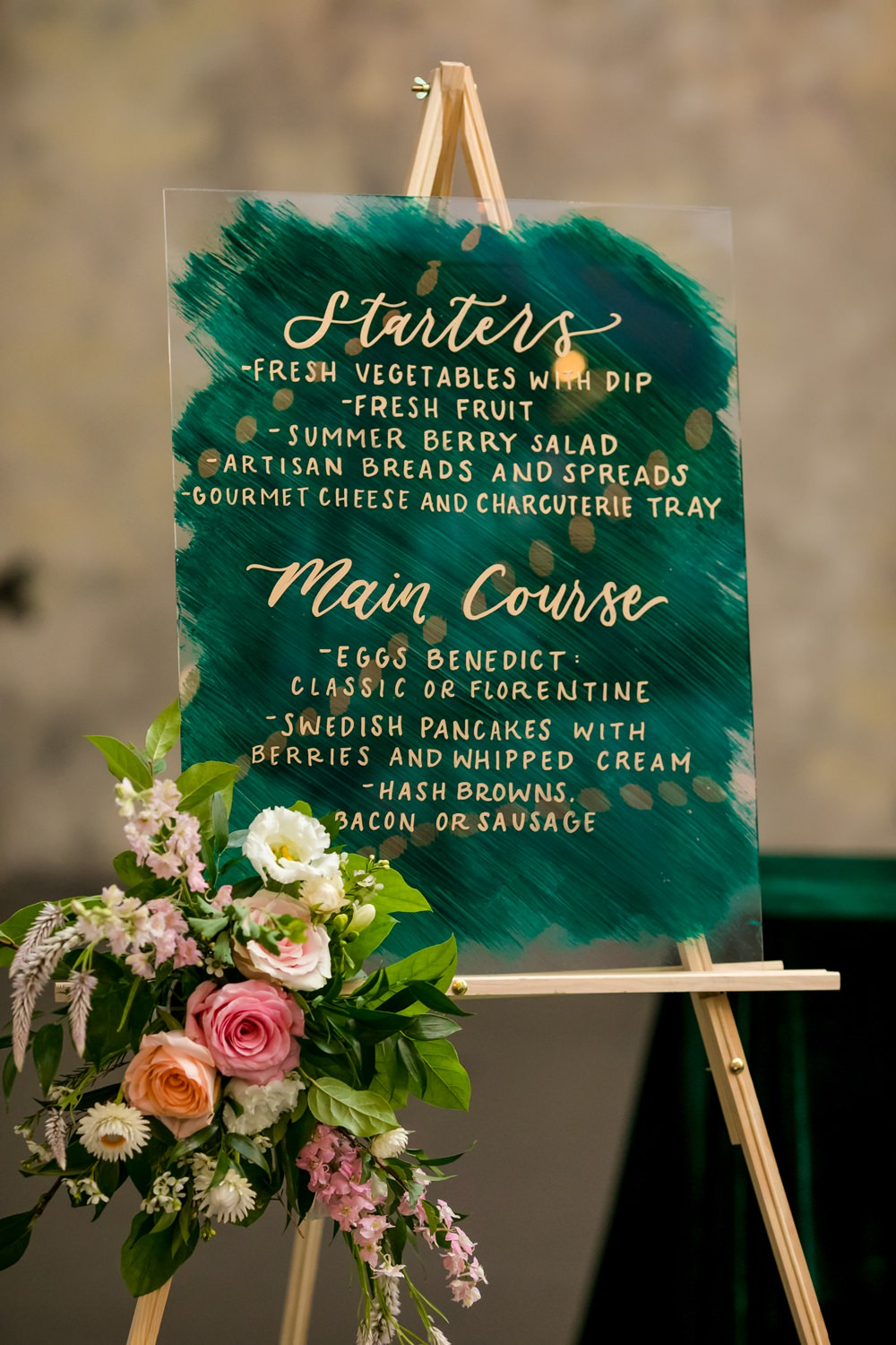 Green Gold Acrylic Perspex Clear Calligraphy Sign Signs Signage Floral Minneapolis Wedding Jeannine Marie Photography