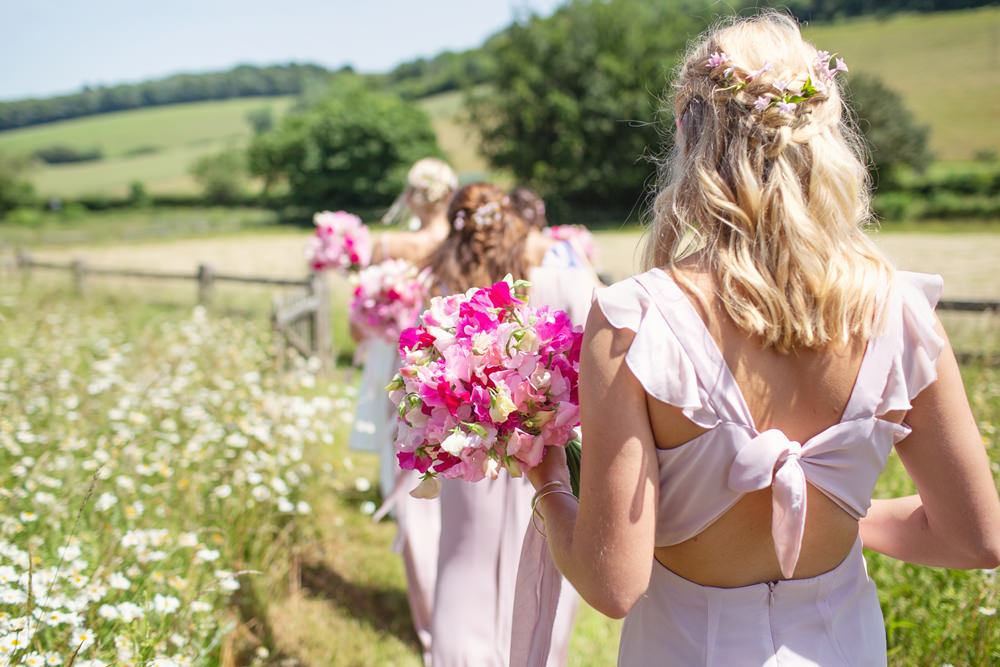 Bridesmaid Bride Bridal Hair Waves Curls Half Up Half Down Flowers Rustic Tipi Wedding Cotton Candy Weddings