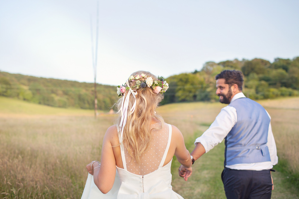 Bride Bridal Hair Waves Curls Half Up Half Down Flowers Flower Crown Rustic Tipi Wedding Cotton Candy Weddings
