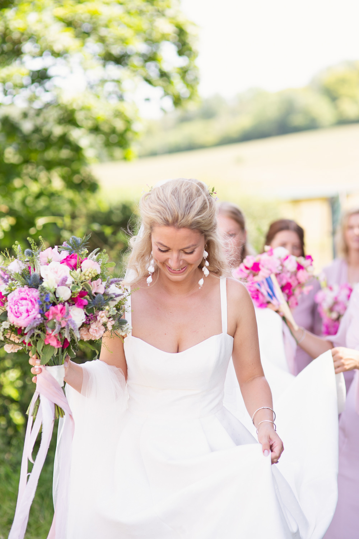 Bride Bridal Dress Gown Jesus Peiro Straps Bouquet Flowers Pink Rustic Tipi Wedding Cotton Candy Weddings