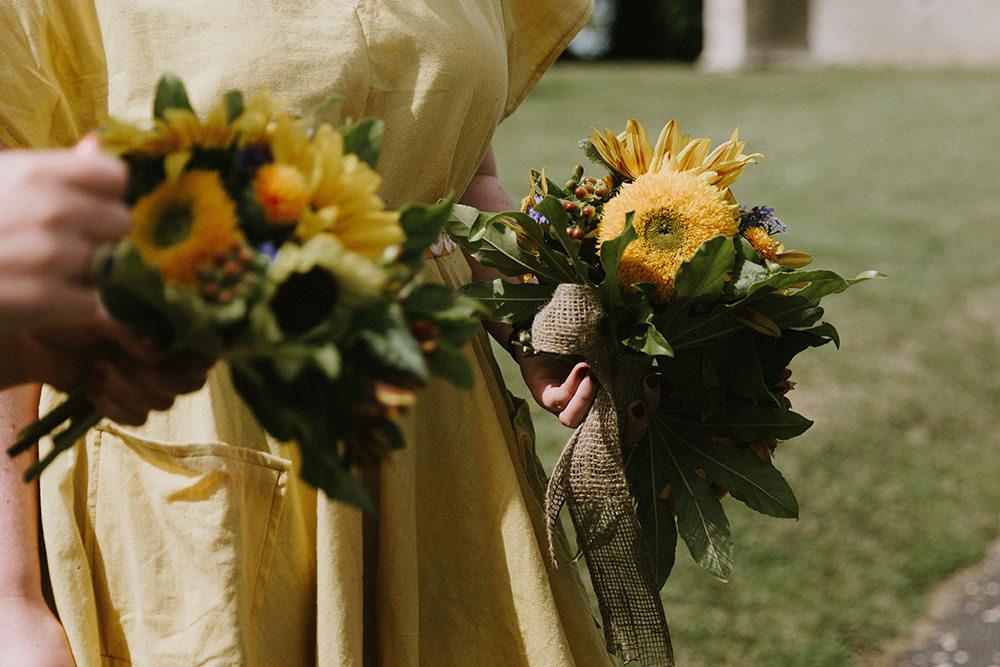 Bouquets Flowers Bridesmaid Yellow Sunflowers Wedding Chris Bradshaw Photography