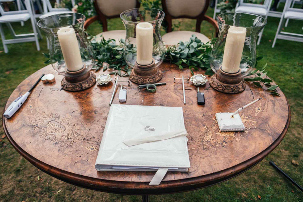 Ceremony Table Candless Foliage Greenery Tinakilly Country House Wedding Conor Brennan Photography