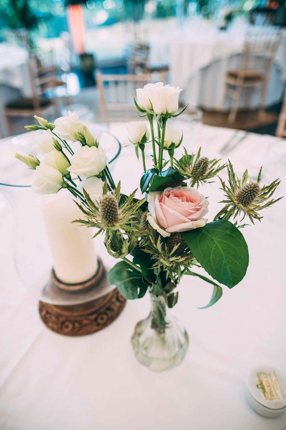 Table Flowers Centrepiece Rose Tinakilly Country House Wedding Conor Brennan Photography