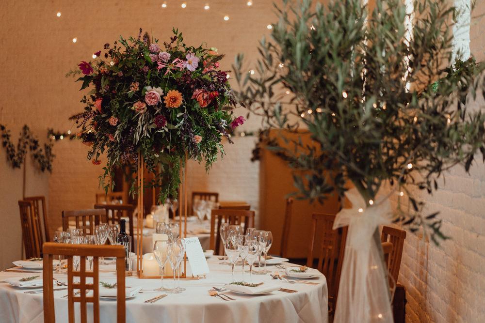 Tall Flowers Flower Arrangement Dahlia Rose Burgundy Coral Centrepiece Ufton Court Wedding Emily & Steve Photography