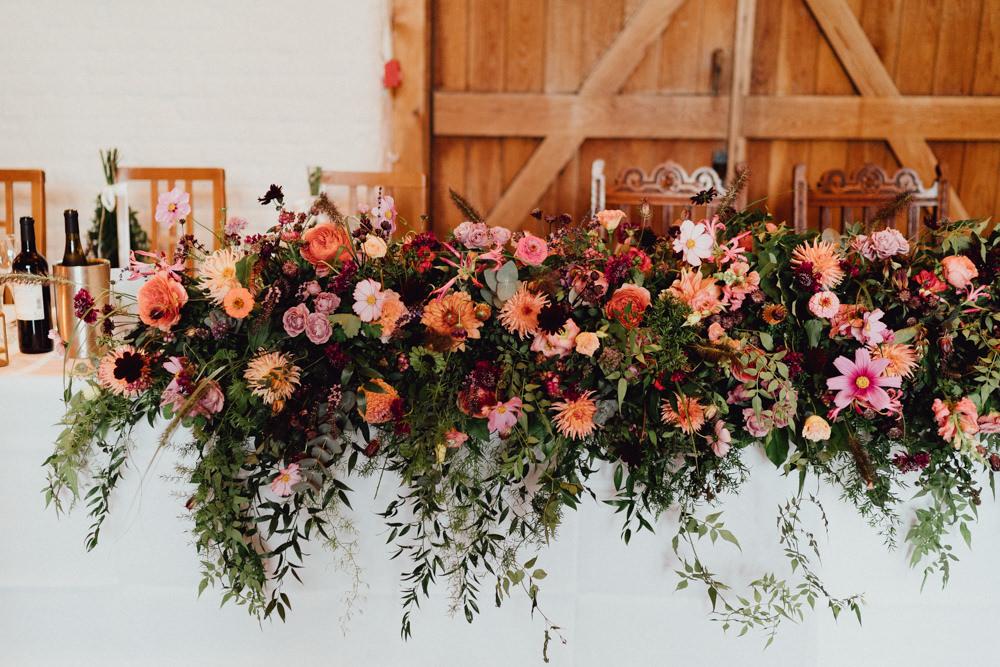 Tall Flowers Flower Arrangement Dahlia Rose Burgundy Coral Top Table Ufton Court Wedding Emily & Steve Photography