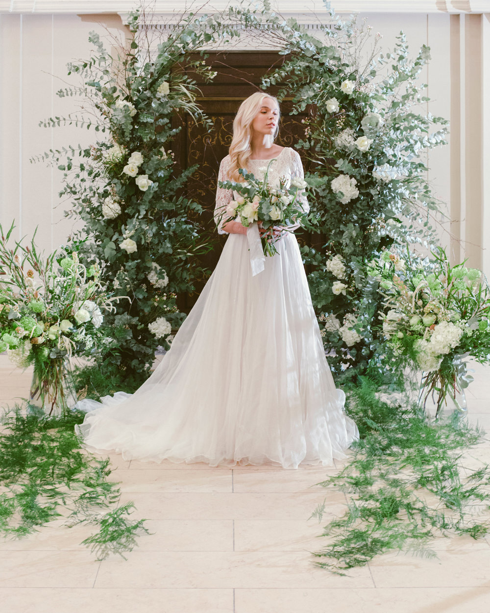 Flower Arch Backdrop Aisle Ceremony Flowers Greenery Foliage Blush Rose Whimsical Elegant Wedding Ideas Mandorla London