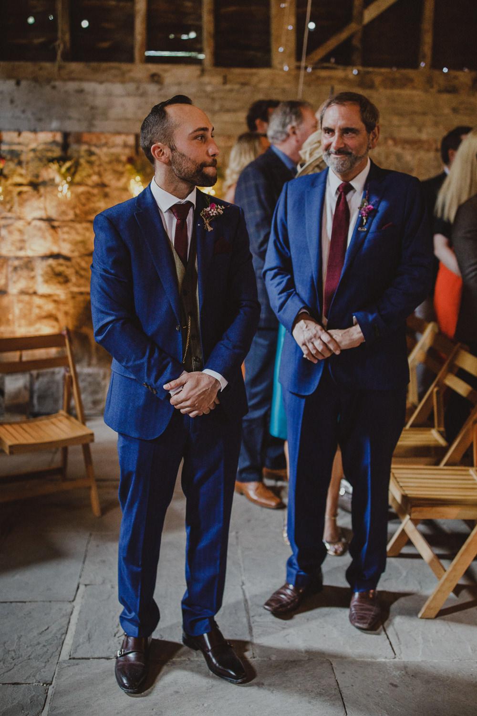 Groom Suit Blue Burgundy Tie Wiltshire Barn Wedding Photography34