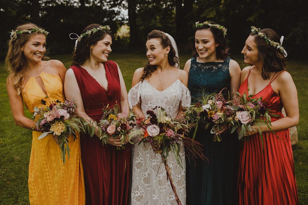 Bridesmaids Bridesmaid Dress Dresses Mismatched Jewel Wiltshire Barn Wedding Photography34
