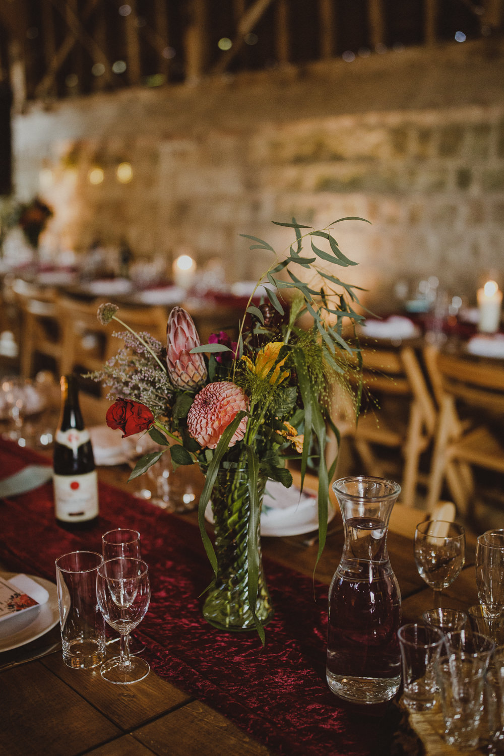 Table Flowers Centrepiece Wiltshire Barn Wedding Photography34
