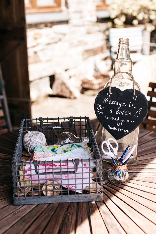 Message in a Bottle Guest Book Wonwood Barton Wedding Emma Barrow Photography