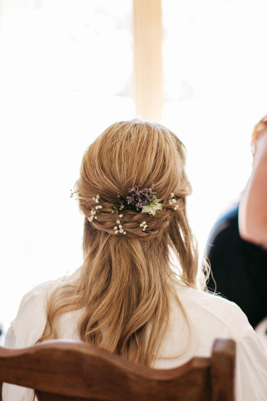 Bride Bridal Hair Style Half Up Half Down Wonwood Barton Wedding Emma Barrow Photography