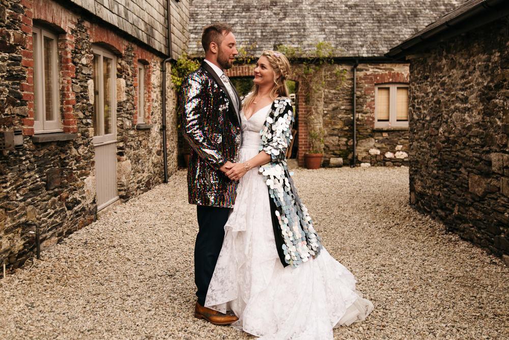 Wonwood Barton Wedding Emma Barrow Photography Sequin Jackets Bride Groom