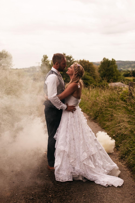 Wonwood Barton Wedding Emma Barrow Photography Smoke Bomb Photo Portraits