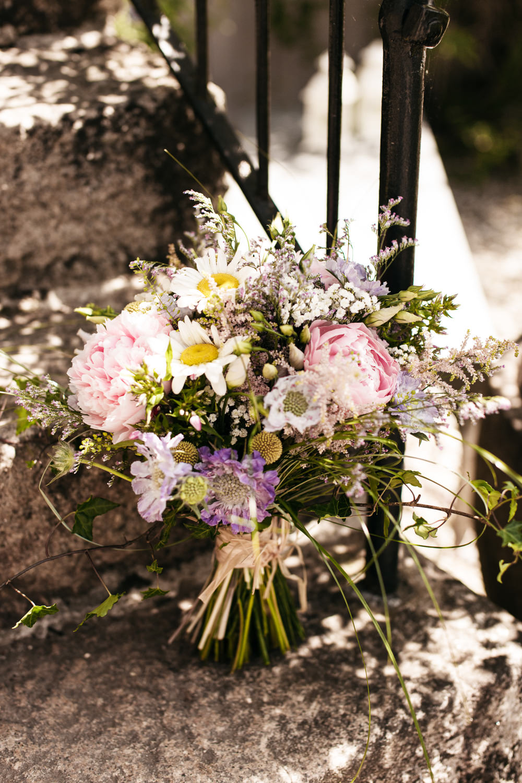Bouquet Flowers Bride Bridal Peony Peonies Daisy Wonwood Barton Wedding Emma Barrow Photography