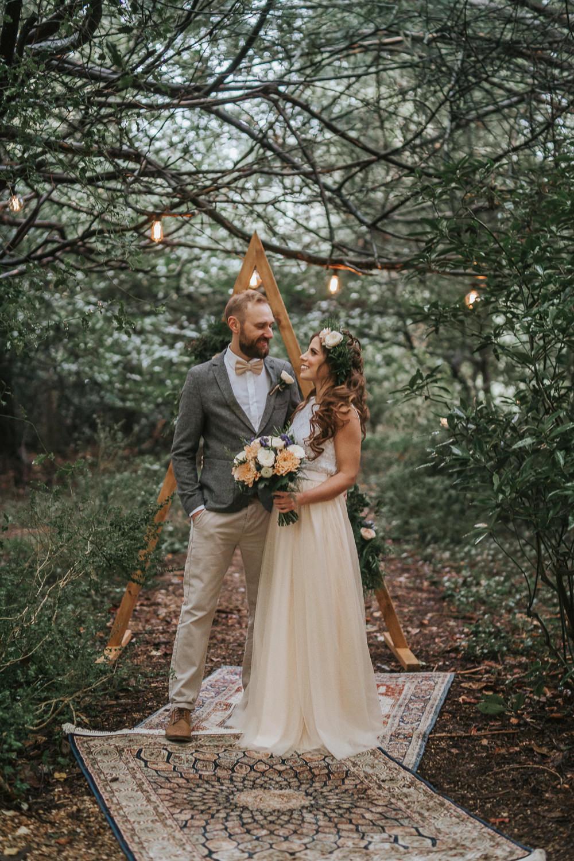 Backdrop Triangle Wooden Festoon Lights Rugs Ceremony Aisle Woodland Wedding Inspiration Stephanie Dreams Photography
