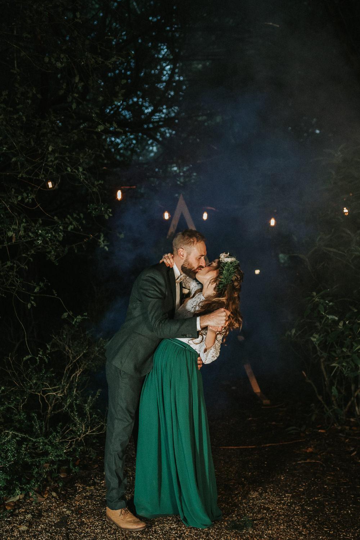 Smoke Bomb Backdrop Triangle Wooden Festoon Lights Rugs Ceremony Aisle Woodland Wedding Inspiration Stephanie Dreams Photography