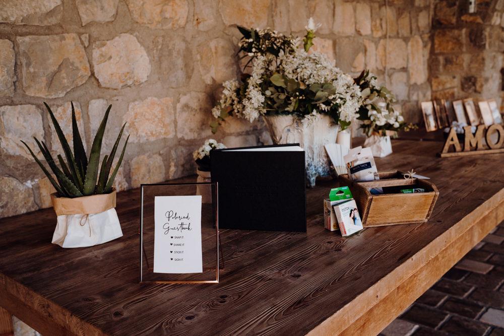 Guest Book Table Aquapetra Resort Spa Wedding Peter Hughes Photography