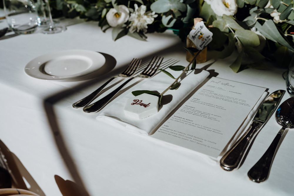 Place Setting Decor Greenery Aquapetra Resort Spa Wedding Peter Hughes Photography