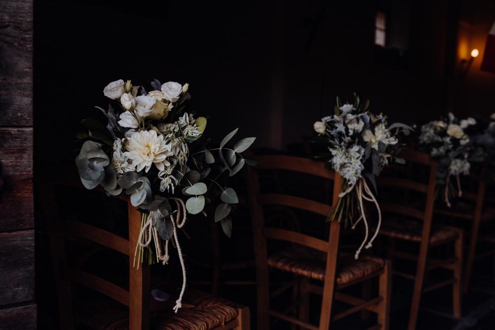 Aisle Pew End Flowers Ceremony Aquapetra Resort Spa Wedding Peter Hughes Photography