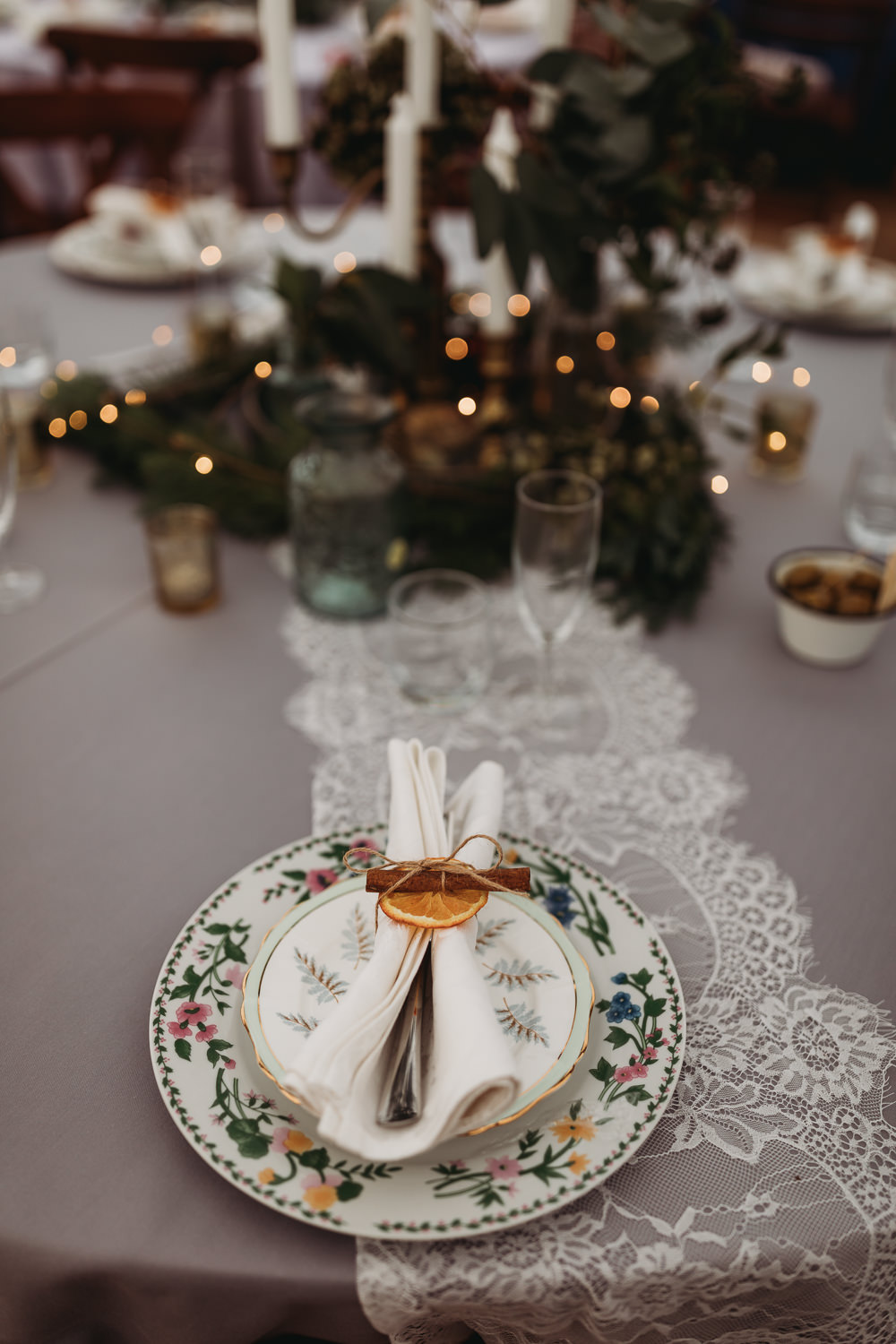 Place Setting Orange Cinnamon Plate Lace Christmas Marquee Wedding Thyme Lane Photography