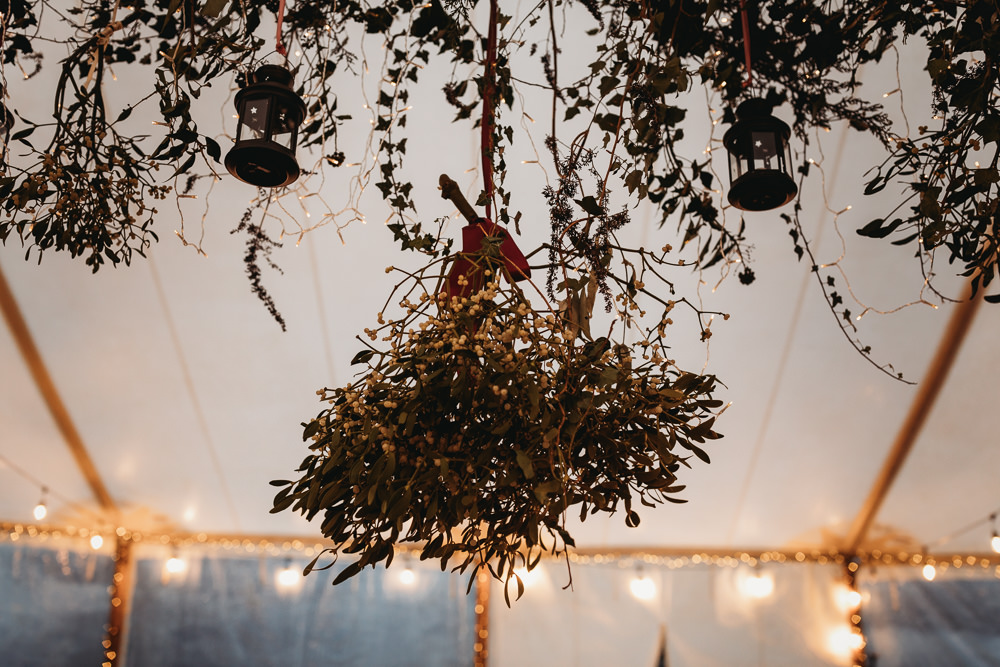 Hanging Mistletoe Suspended Bunches Christmas Marquee Wedding Thyme Lane Photography