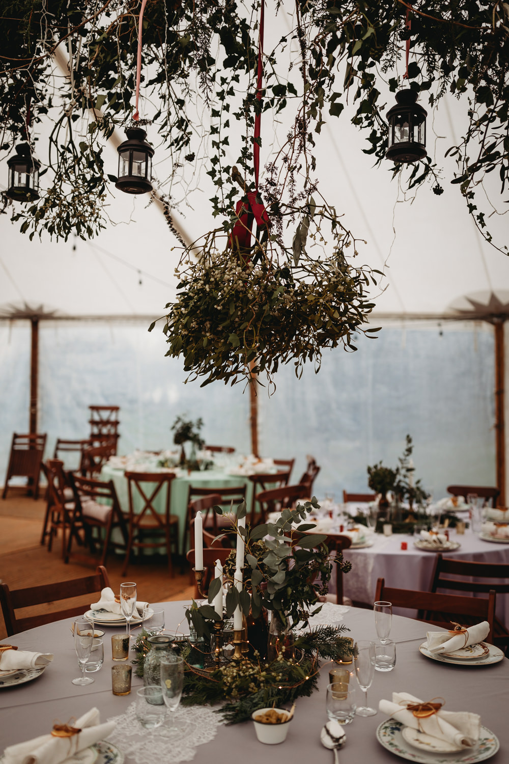 Sailcloth Tent Decoration Decor Hanging Foliage Lanterns Greenery Suspended Mistletoe Christmas Marquee Wedding Thyme Lane Photography