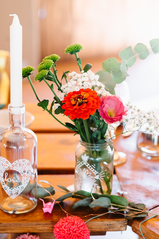 Centrepiece Jar Flowers Colourful Wild DIY Tipi Wedding Fiona Kelly Photography