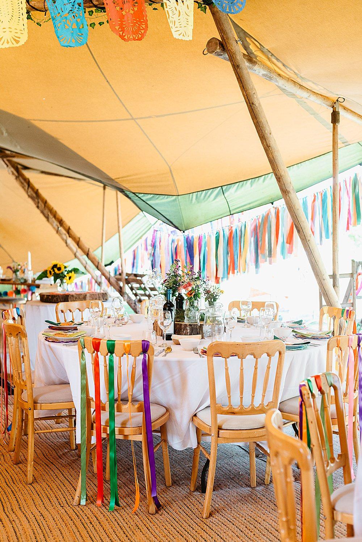 Multicolour Rainbow Colourful Ribbon Chairs Decor Rag Bunting DIY Tipi Wedding Fiona Kelly Photography
