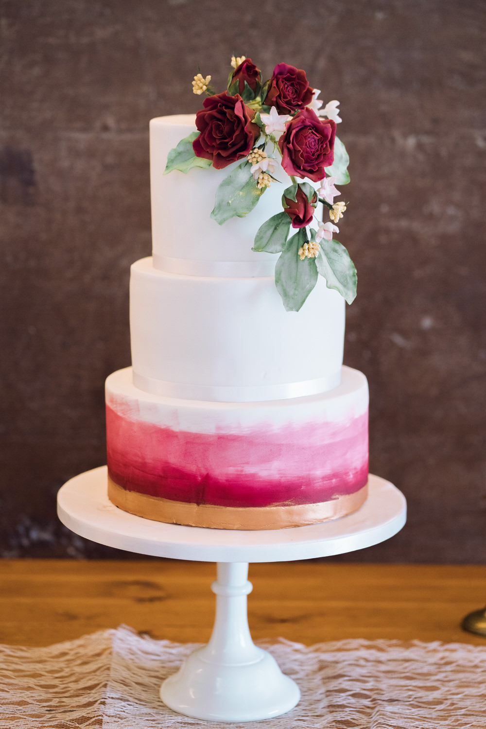 Watercolour Floral Cake Red Decadent Christmas Wedding Jessica Raphael Photography