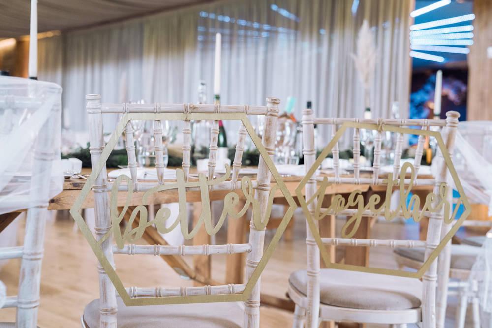 Chair Signs Decadent Christmas Wedding Jessica Raphael Photography