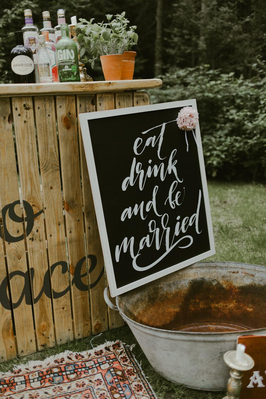 Bar Drinks Sign Signs Signage Dreamy Woodland Wedding Ideas Jasmine Andrews Photography