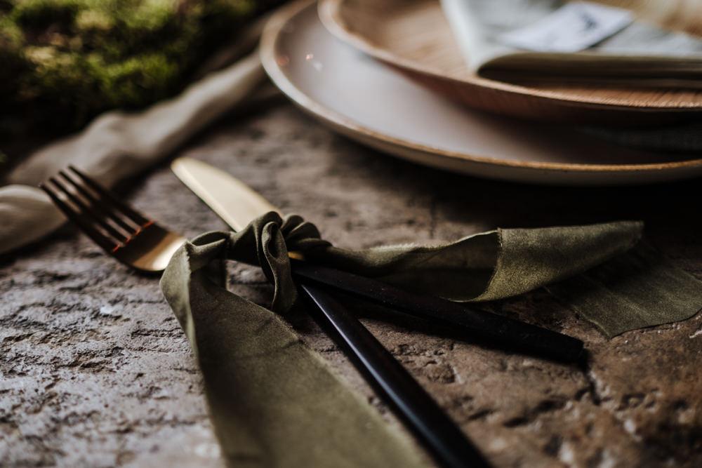 Gold Cutlery Velvet Ribbon thical Wedding Ideas Jenna Kathleen Photographer