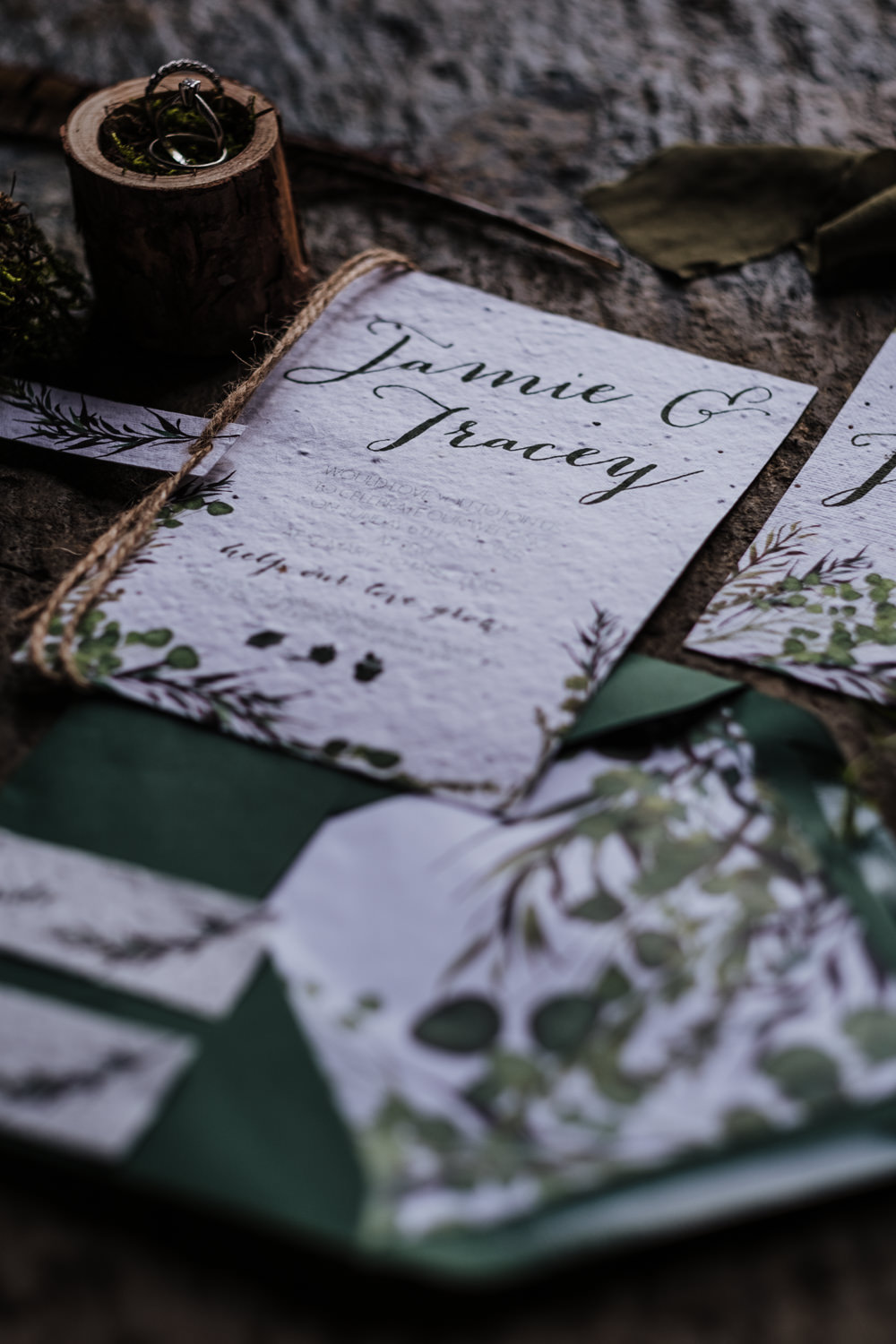Stationery Invites Invitations Greenery Foliage Suite Ethical Wedding Ideas Jenna Kathleen Photographer