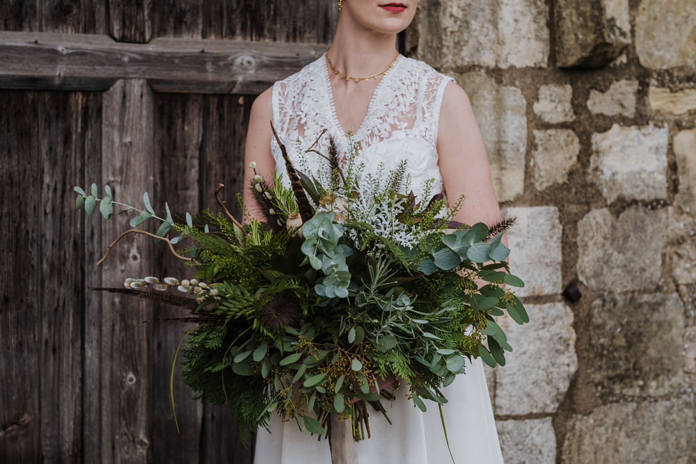 Bouquet Flowers Bride Bridal Fern Eucalyptus Feather Seed Head Ribbons Ethical Wedding Ideas Jenna Kathleen Photographer