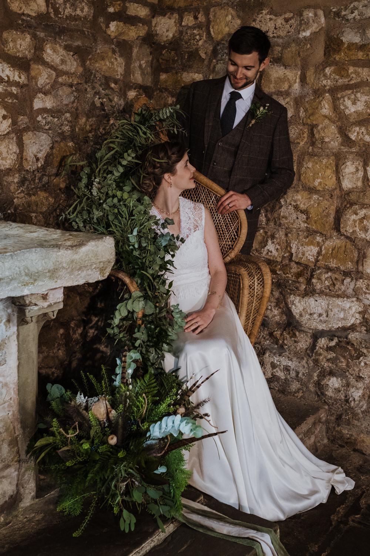Peacock Chair Greenery Foliage Ethical Wedding Ideas Jenna Kathleen Photographer