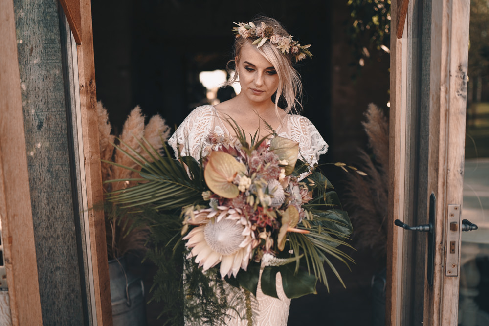 Bride Bridal Bouquet Flowers Tropical Protea Serruria Pineapples Succulents Flower Crown Glittery Wedding Winnington & Coe