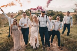 Glittery Wedding Winnington & Coe Smoke Bomb Portrait Photos Photography