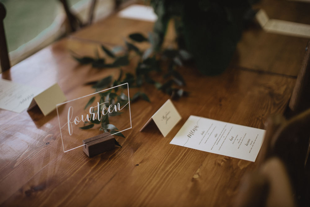 Acrylic Perspex Calligraphy Table Number Natural Marquee Wedding Fox & Bear Photography