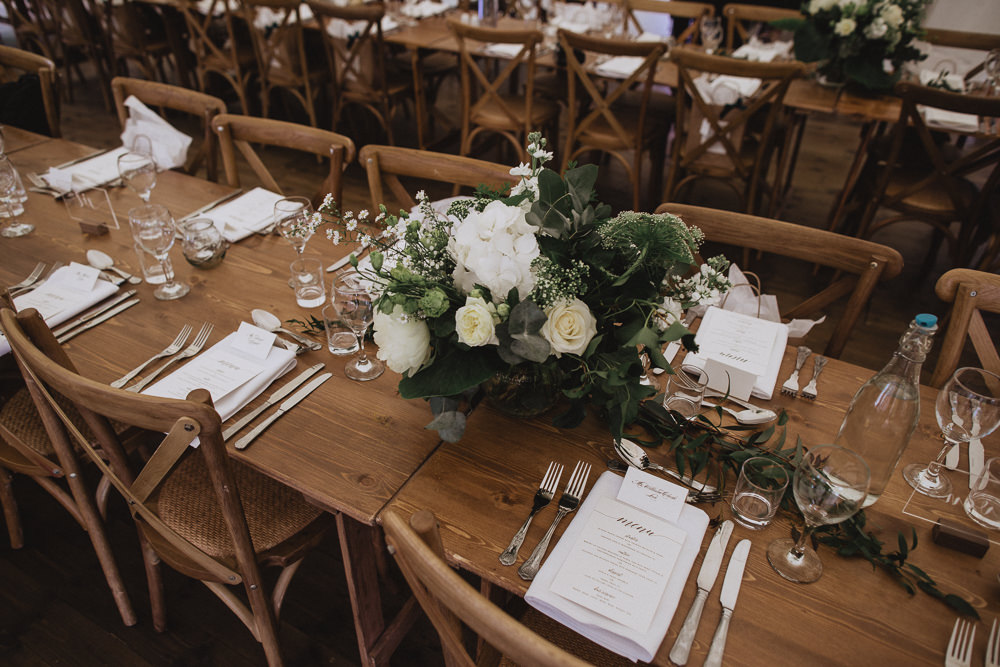Long Wooden Table Decor Decoration Flowers Floral Centrepiece Greenery Rose Peony Hydrangea Natural Marquee Wedding Fox & Bear Photography