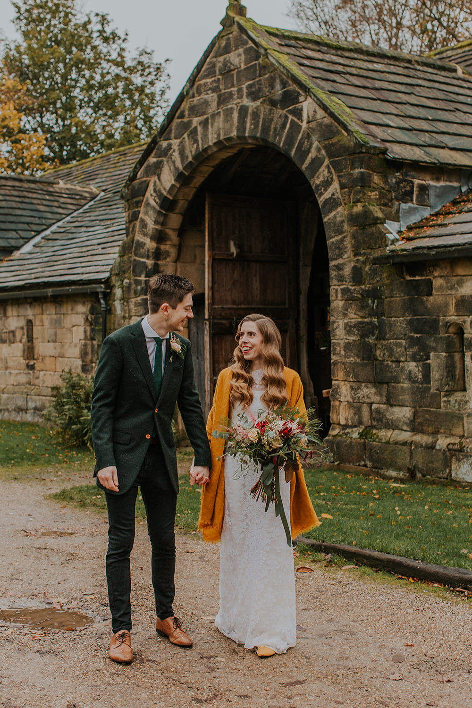 Groom Suit Green Tweed Jacket Jeans Simple Autumn Wedding Maddie Farris Photography