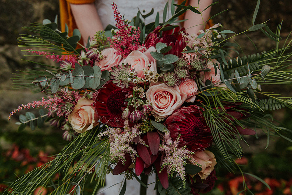 Bouquet Flowers Bride Bridal Burgundy Red Pink Rose Astilbe Protea Simple Autumn Wedding Maddie Farris Photography