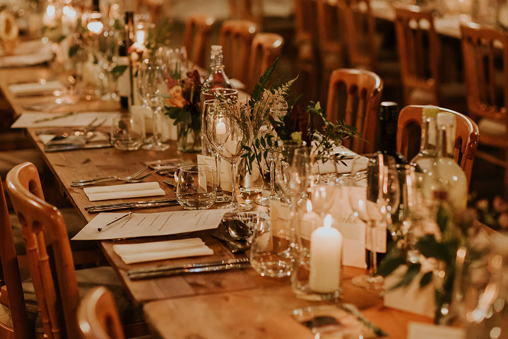 Long Tables Flowers Candles Simple Autumn Wedding Maddie Farris Photography